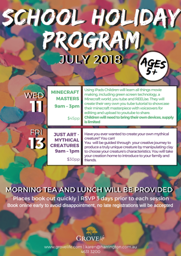 July School Holiday Program 2018